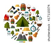 camping icons collection. set... | Shutterstock .eps vector #417110374