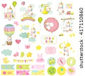 baby girl unicorn scrapbook set.... | Shutterstock .eps vector #417110860