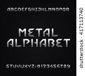metal alphabet font. chrome... | Shutterstock .eps vector #417113740