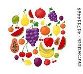 big fruit icons vector set....   Shutterstock .eps vector #417114469