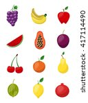 big fruit icons vector set.... | Shutterstock .eps vector #417114490