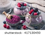 chia seeds acai pudding with... | Shutterstock . vector #417130450