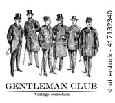 vintage hand drawn gentleman... | Shutterstock .eps vector #417132340