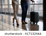 couple at airport waiting... | Shutterstock . vector #417132466
