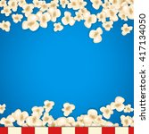 heap popcorn for movie lies on... | Shutterstock .eps vector #417134050