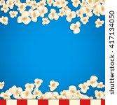 heap popcorn for movie lies on... | Shutterstock .eps vector #417134050