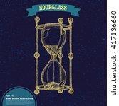 hand drawn hourglass. tattoo... | Shutterstock .eps vector #417136660