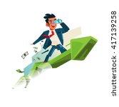 business man holding binocular... | Shutterstock .eps vector #417139258