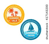 summer sale and offer banners... | Shutterstock .eps vector #417143200