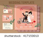 set of wedding invitations... | Shutterstock .eps vector #417153013