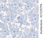 vector floral seamless fairy... | Shutterstock .eps vector #417155794
