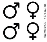 male and female symbol set .... | Shutterstock .eps vector #417156340