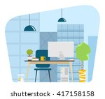 contemporary modern office... | Shutterstock .eps vector #417158158