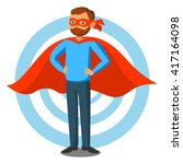 cartoon superhero man in red... | Shutterstock .eps vector #417164098