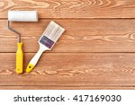 paintbrush and roller on a... | Shutterstock . vector #417169030