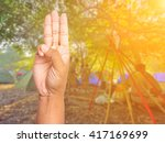 scout honor hand gesture on... | Shutterstock . vector #417169699
