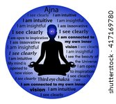 meditating woman. ajna chakra... | Shutterstock .eps vector #417169780