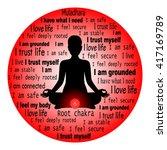 meditating woman. muladhara...   Shutterstock .eps vector #417169789