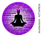 meditating woman. sahasrara... | Shutterstock .eps vector #417169816
