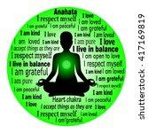 meditating woman. anahata... | Shutterstock .eps vector #417169819