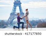 romantic engagement in paris ... | Shutterstock . vector #417177850