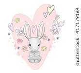 Pretty Bunny Heart And Flowers...