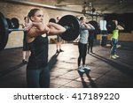 fit young woman lifting... | Shutterstock . vector #417189220