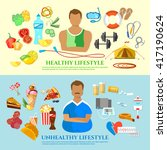 healthy lifestyle and unhealthy ... | Shutterstock .eps vector #417190624