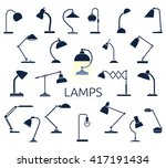 big set of lamp icons. flat... | Shutterstock .eps vector #417191434