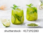 Matcha Ice Green Tea With Lime...