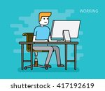 thin line flat design of young... | Shutterstock .eps vector #417192619