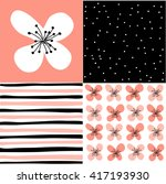 set of seamless floral pattern   Shutterstock .eps vector #417193930