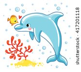 cute cartoon dolphin. love ... | Shutterstock .eps vector #417201118