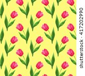 Watercolor Seamless Tulips...