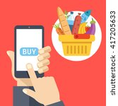 purchase food using mobile app. ... | Shutterstock .eps vector #417205633