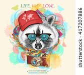 raccoon hipster portrait of a... | Shutterstock .eps vector #417207886