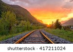 Railroad Tracks In The Setting...