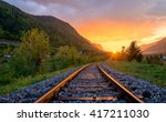 railroad tracks in the setting... | Shutterstock . vector #417211030