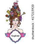 vector roccoco styled girl with ... | Shutterstock .eps vector #417215920