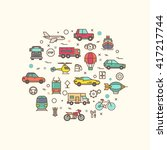 vehicle and transport icons in... | Shutterstock .eps vector #417217744