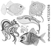 Hand Drawn Zentangle Fishes ...