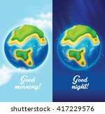 day and night illustration. sky ... | Shutterstock .eps vector #417229576