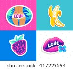 set of summer stickers  badges... | Shutterstock .eps vector #417229594