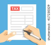 man hands filling tax form.... | Shutterstock .eps vector #417230329