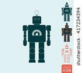 robot icon. vintage robot...