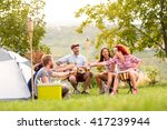 boys and girls toasting with... | Shutterstock . vector #417239944
