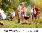 guys and lassies feed each... | Shutterstock . vector #417242080