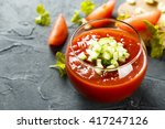 Tomato Gazpacho Soup With Fres...