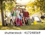 group of friends taking selfie... | Shutterstock . vector #417248569