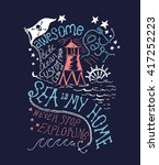 sailor  ocean typography... | Shutterstock .eps vector #417252223